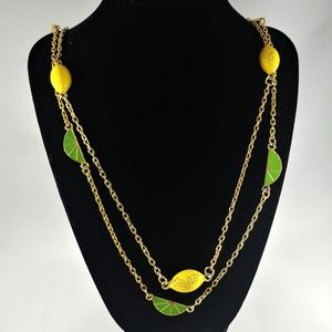 Green and Yellow Lemon Lime Double Layer Neckace